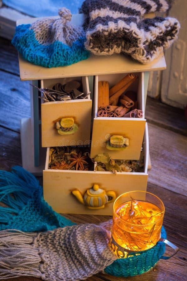 Appréciez votre thé de chauffage dans la soirée d'hiver photo libre de droits