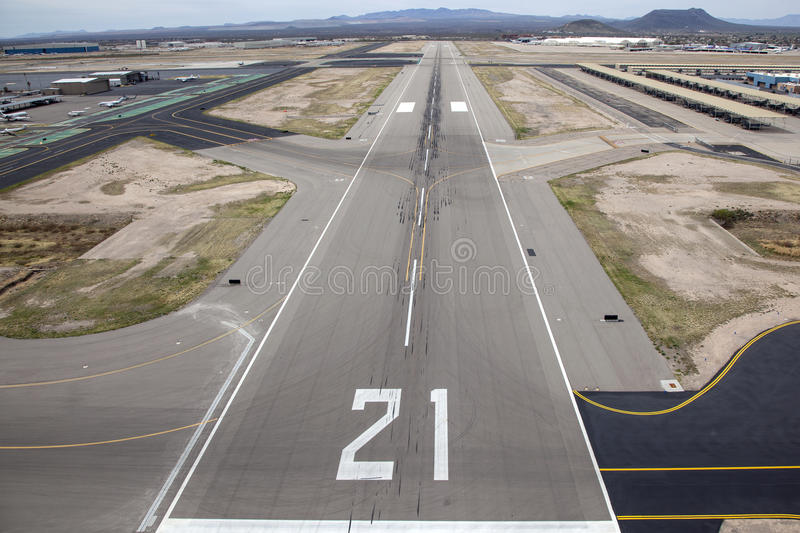 Tucson Runway. Appraoch to Runway 21 at Tucson International Airport stock image