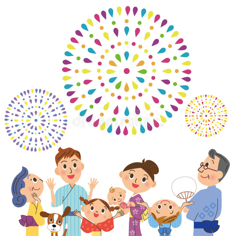 Appreciate fireworks in three generations. The close three-generation family who enjoys fireworks royalty free illustration