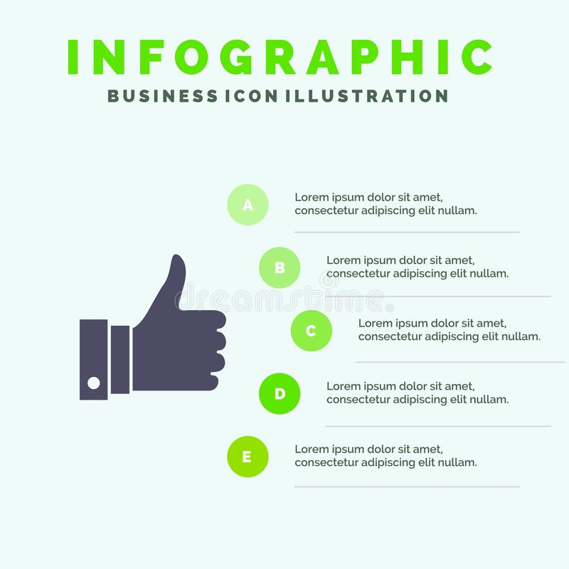 Appreciate, Remarks, Good, Like Solid Icon Infographics 5 Steps Presentation Background vector illustration