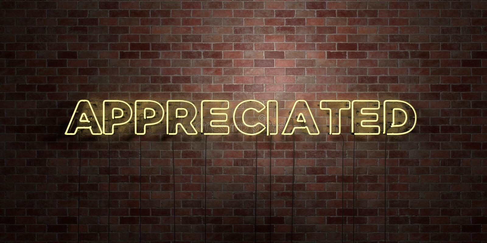 APPRECIATED - fluorescent Neon tube Sign on brickwork - Front view - 3D rendered royalty free stock picture. Can be used for online banner ads and direct stock illustration