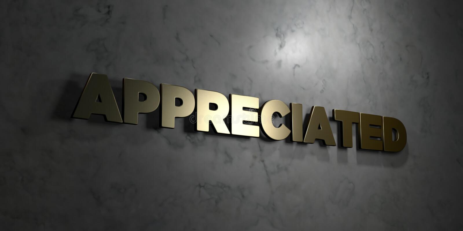 Appreciated - Gold text on black background - 3D rendered royalty free stock picture. This image can be used for an online website banner ad or a print stock illustration