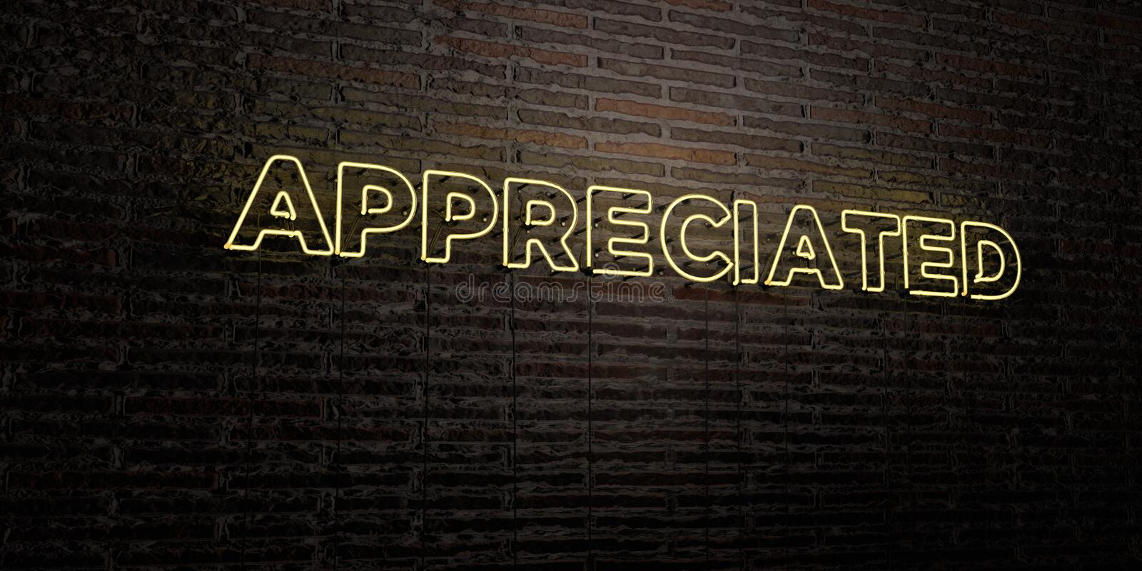 APPRECIATED -Realistic Neon Sign on Brick Wall background - 3D rendered royalty free stock image. Can be used for online banner ads and direct mailers royalty free illustration