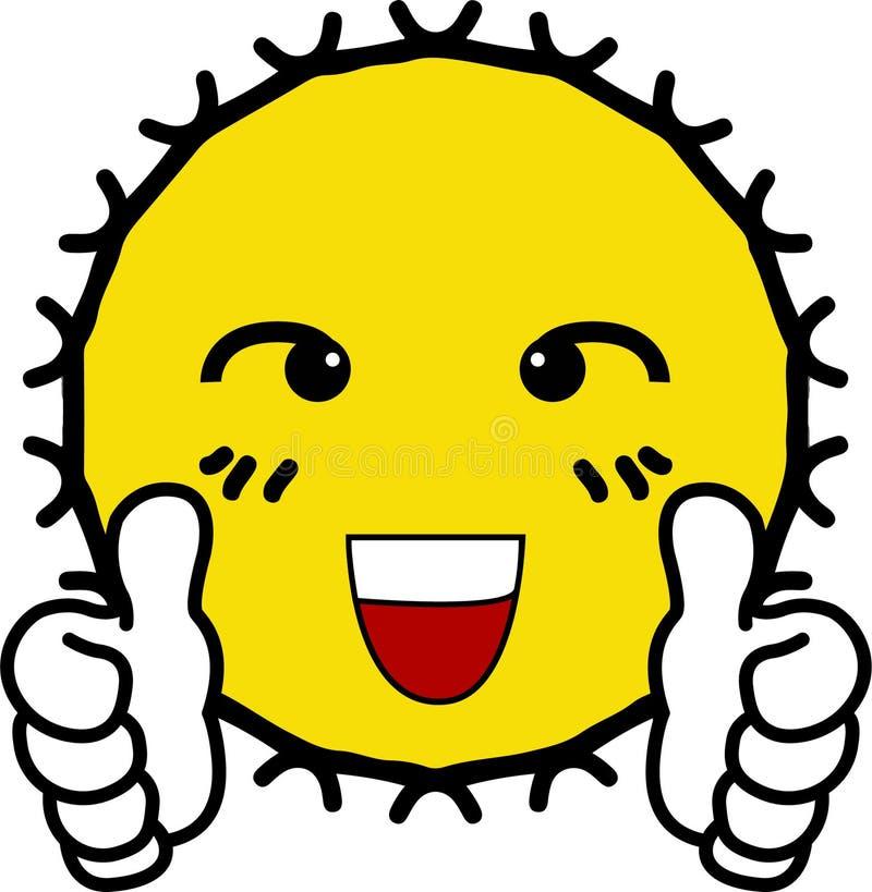 Appreciated shining yellow sun. Cartoon vector illustration