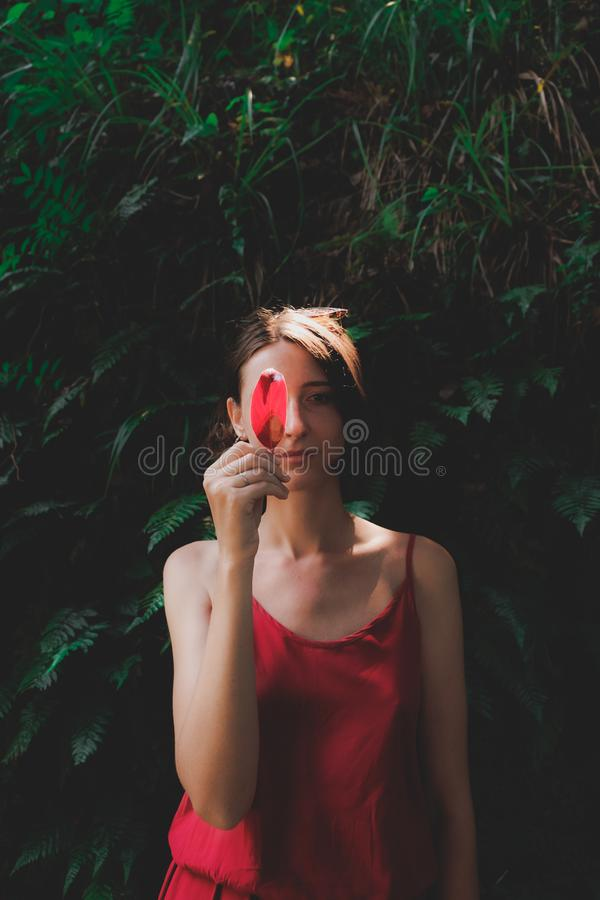Girls and plants: portrait of a beautiful woman holding a sunlit red leaf. stock photos