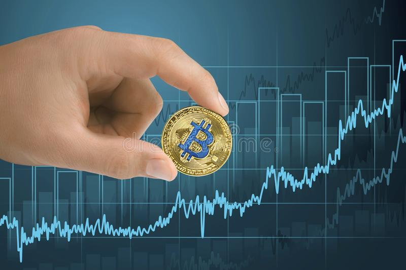Appreciation, strengthening and growing bitcoin Financial growth graph. Rising up of value cryptocurrency royalty free stock image