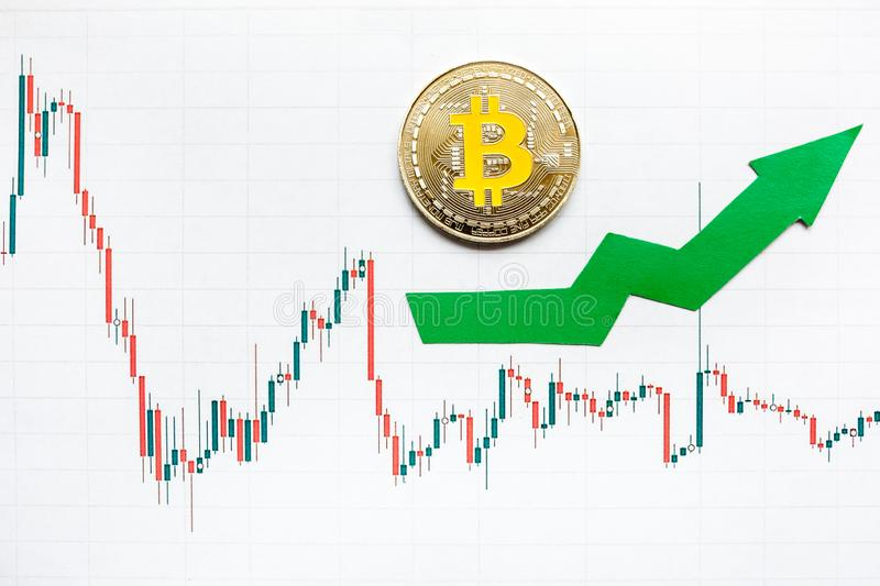 Appreciation of virtual money bitcoin. Green arrow and silver Bitcoin on paper forex chart index rating go up on exchange market royalty free stock photography