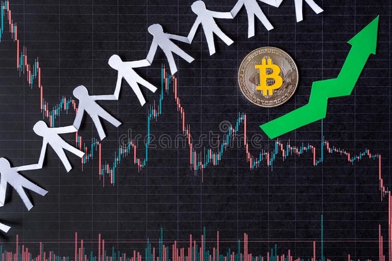 Appreciation of virtual money bitcoin. Green arrow and silver Bitcoin on paper forex chart index rating go up exchange market royalty free stock photography