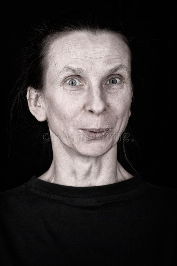 Appreciative Adult Woman Expression Portrait. Attractive adult woman portrait with appreciative expression on her face royalty free stock image