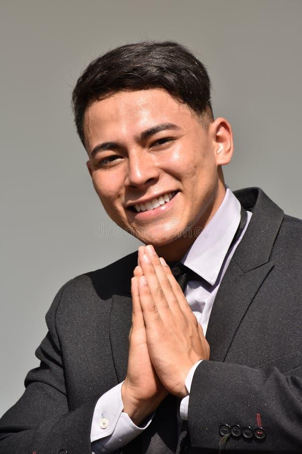 Appreciative Diverse Business Man. A handsome adult hispanic man stock photo