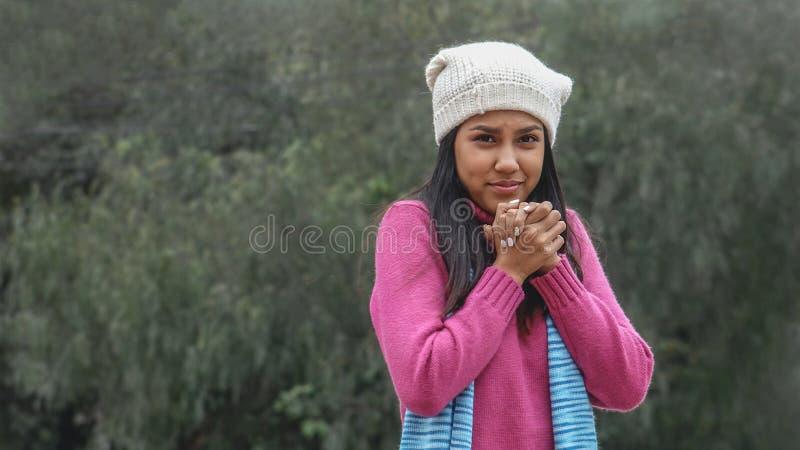 An Appreciative Peruvian Person. Young and pretty teen Peruvian girls royalty free stock photo