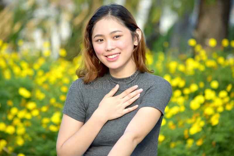 Appreciative Young Diverse Woman. An attractive and asian person royalty free stock images