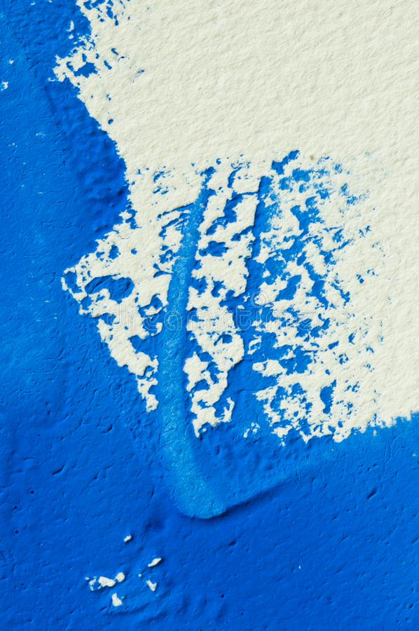 Blue gouache color, image detail. Apprehend abstract painting, printmaking, brilliant blue gouache watercolor on white, image detail stock photo