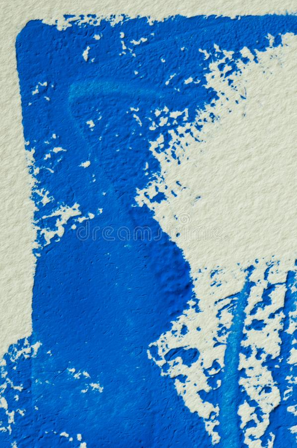Blue gouache color, image detail. Apprehend abstract painting, printmaking, brilliant blue gouache watercolor on white, image detail stock photography