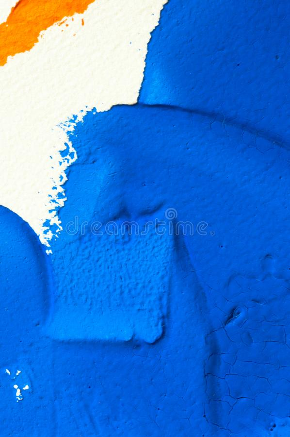 Blue and orange gouache color, image detail. Apprehend abstract painting, printmaking, brilliant blue and orange gouache watercolor on white, image detail royalty free stock photos