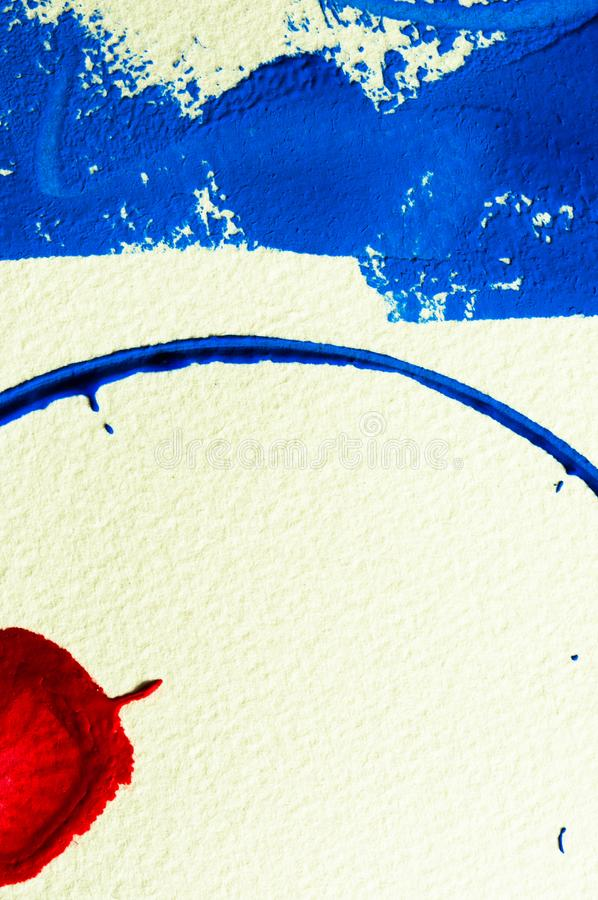Blue and red gouache color, image detail. Apprehend abstract painting, printmaking, brilliant blue and red gouache watercolor on white, image detail royalty free stock photography