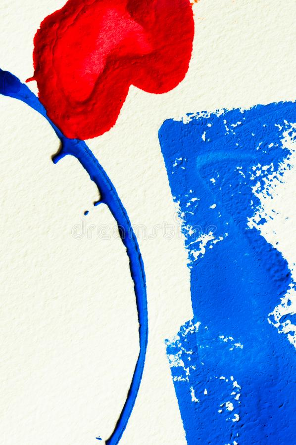 Blue and red heart gouache color, image detail. Apprehend abstract painting, printmaking, brilliant blue and red gouache watercolor on white, image detail stock photos