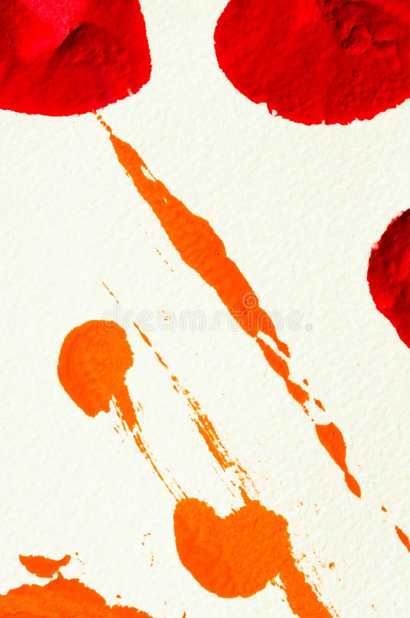 Red and orange gouache color, image detail. Apprehend abstract painting, printmaking, brilliant red and orange gouache watercolor on white, image detail stock photography