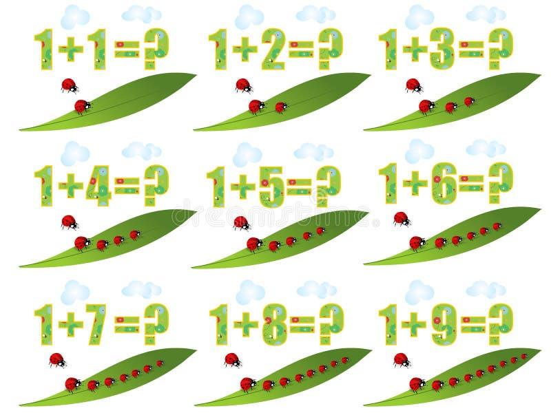Apprenant des maths, additionnant 1 illustration de vecteur