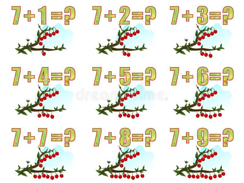 Apprenant des maths, additionnant 7, vecteur de cdr illustration de vecteur
