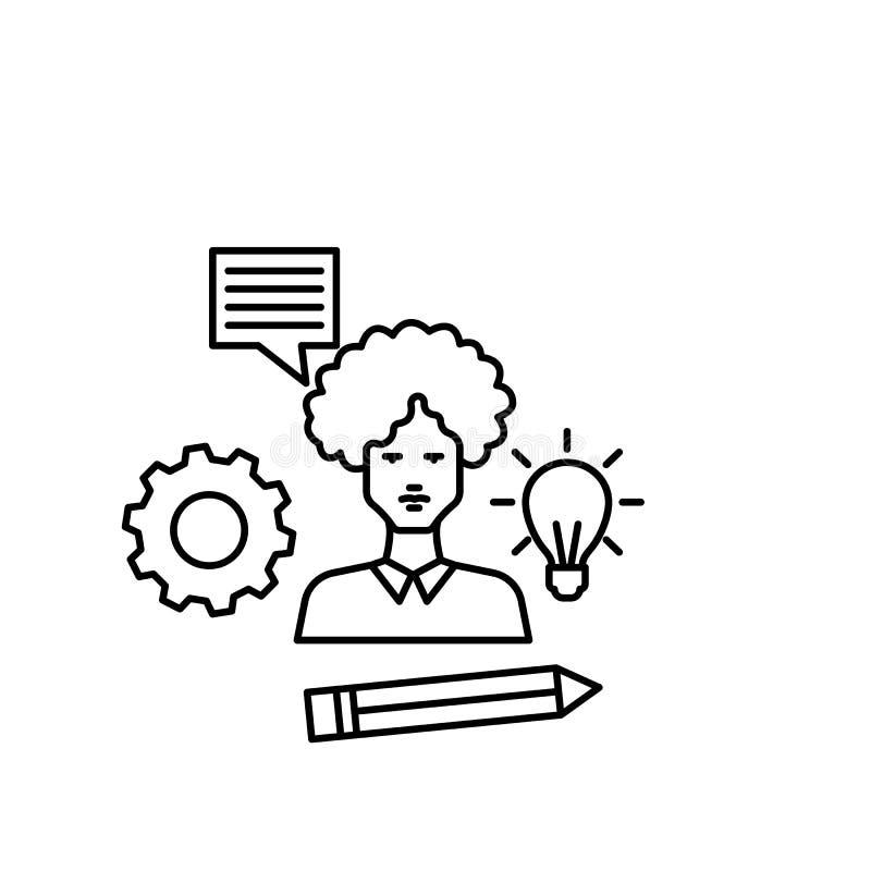 Apprenant, homme, lampe, vitesse, icône de stylo Élément de ligne icône d'éducation illustration libre de droits