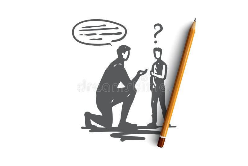 Apprenant, incapacité, garçon, santé, concept d'éducation Vecteur d'isolement tiré par la main illustration stock