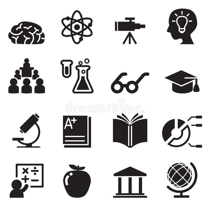 Apprenant, Smart, icônes de génie réglées illustration stock