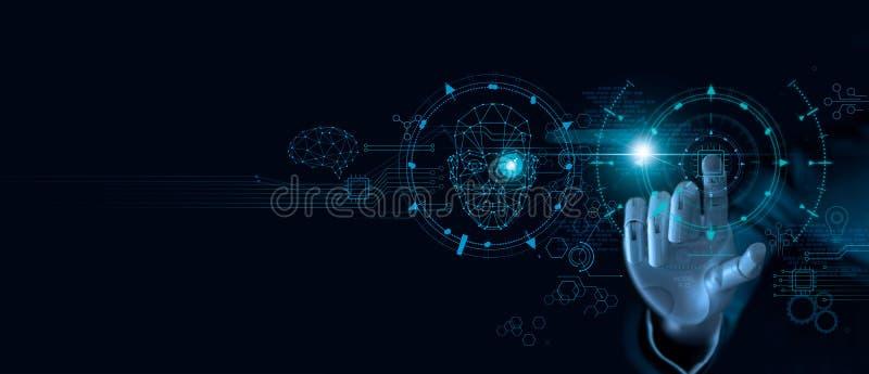Apprendimento automatico Mano del robot che tocca sul chip di computer e sui dati binari Intelligenza artificiale futuristica AI fotografia stock
