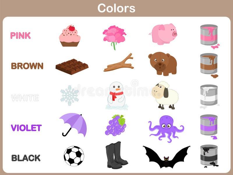 Apprendimento dei colori dell'oggetto per i bambini illustrazione vettoriale