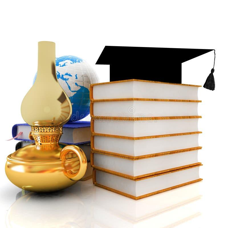 Apprendimento del concetto con la retro lampada di cherosene, cappello di graduazione illustrazione vettoriale