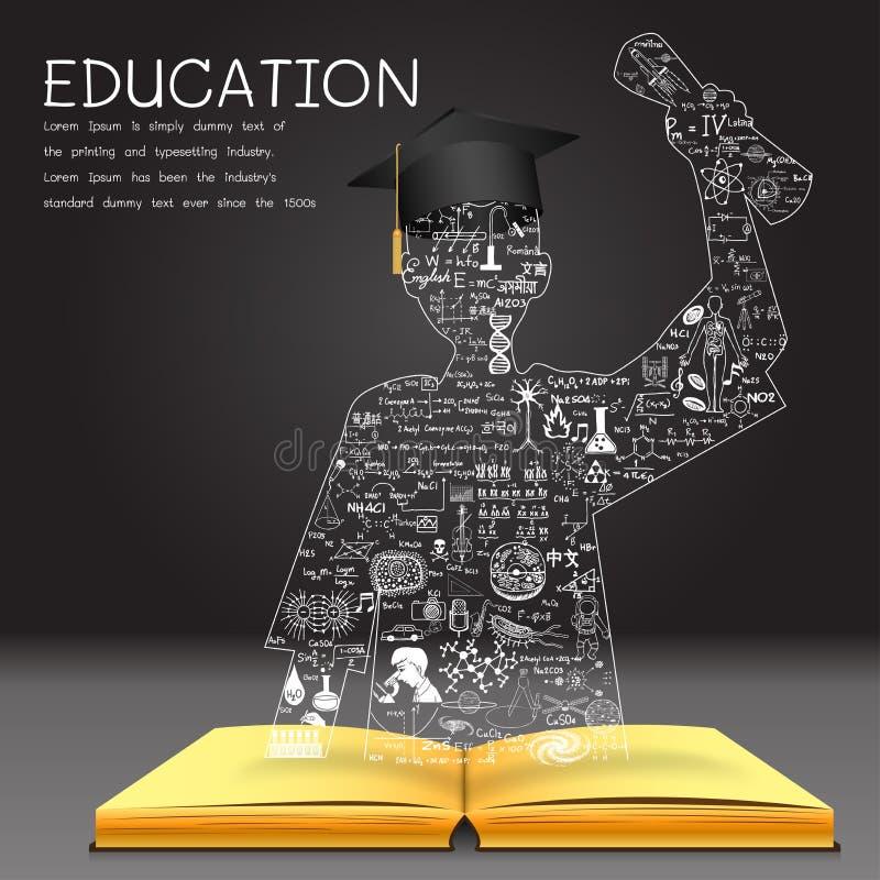 Apprendimento del concetto La conoscenza dal libro sta bene al riuscito studente graduato royalty illustrazione gratis