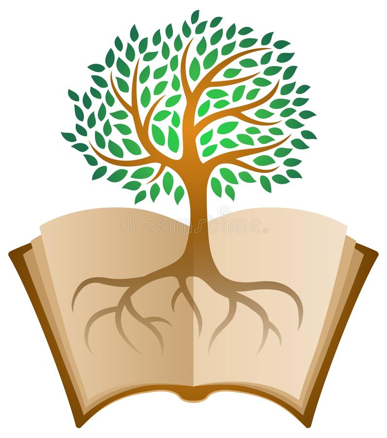 Apprendimento del logo dell'albero del libro illustrazione di stock