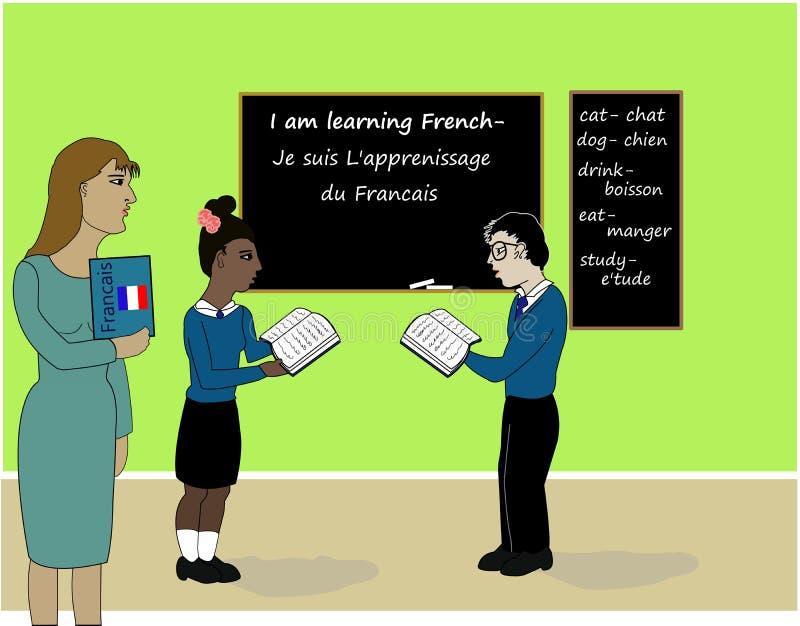 Apprendimento della classe francese illustrazione di stock