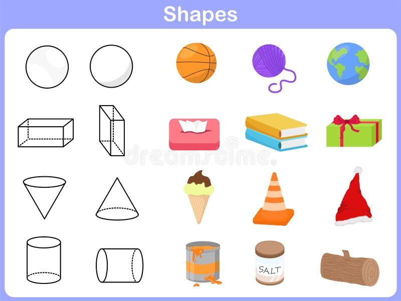 Apprendimento delle forme con oggetto per i bambini royalty illustrazione gratis