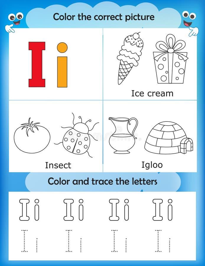 Apprendimento di alfabeto e lettera I di colore royalty illustrazione gratis