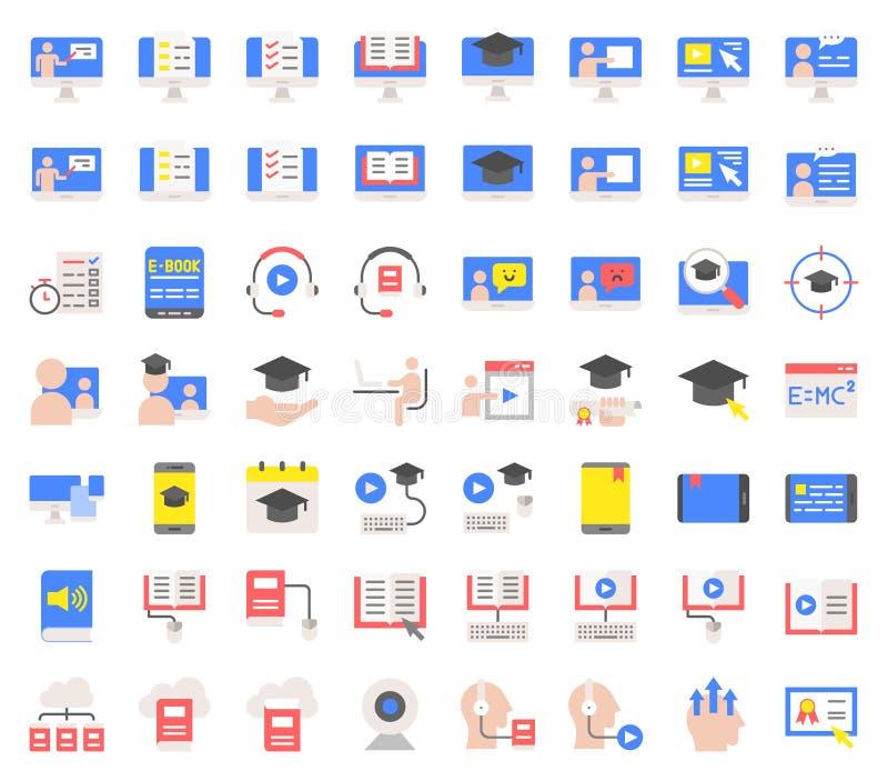 Apprendimento di E ed insieme online istruito dell'icona, progettazione piana royalty illustrazione gratis