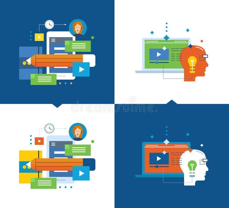 Apprendimento a distanza moderno e di istruzione, progettare e comunicazione, registrazioni a scopo formativo illustrazione di stock
