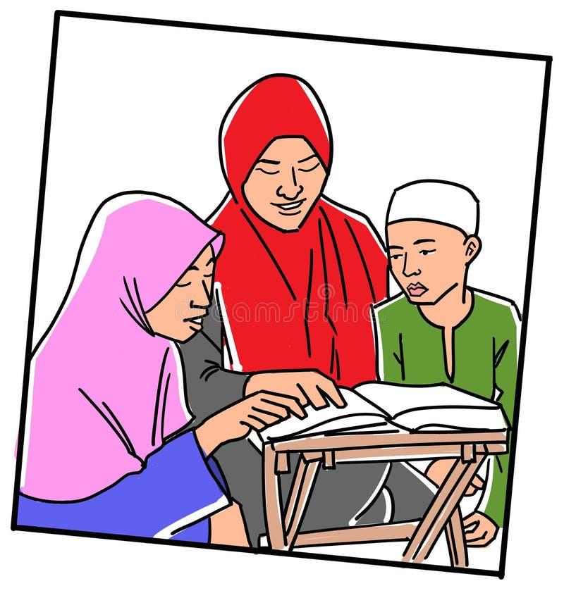Apprendimento leggere Quran illustrazione vettoriale