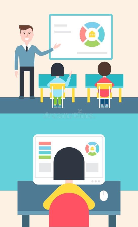 Apprendimento mescolato e modello lanciato Illustration dell'aula royalty illustrazione gratis