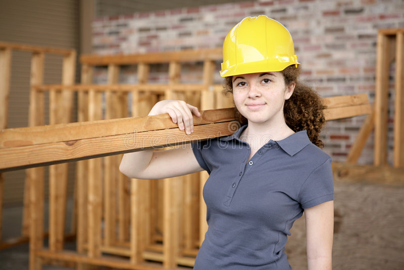 Apprendista femminile della costruzione fotografia stock libera da diritti
