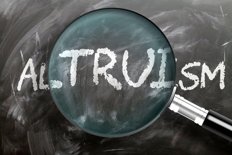 Apprendre, étudier et inspecter l'altruisme - représenté comme une loupe agrandissant le mot altruisme, symbolise la recherche, l image stock