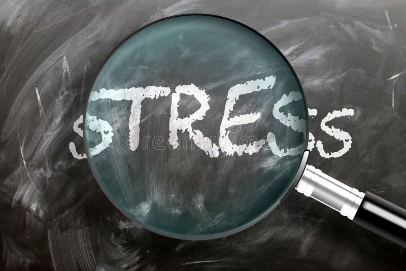 Apprendre, étudier et inspecter le stress - représenté comme une loupe agrandissant le stress des mots, symbolise la recherche, l images libres de droits
