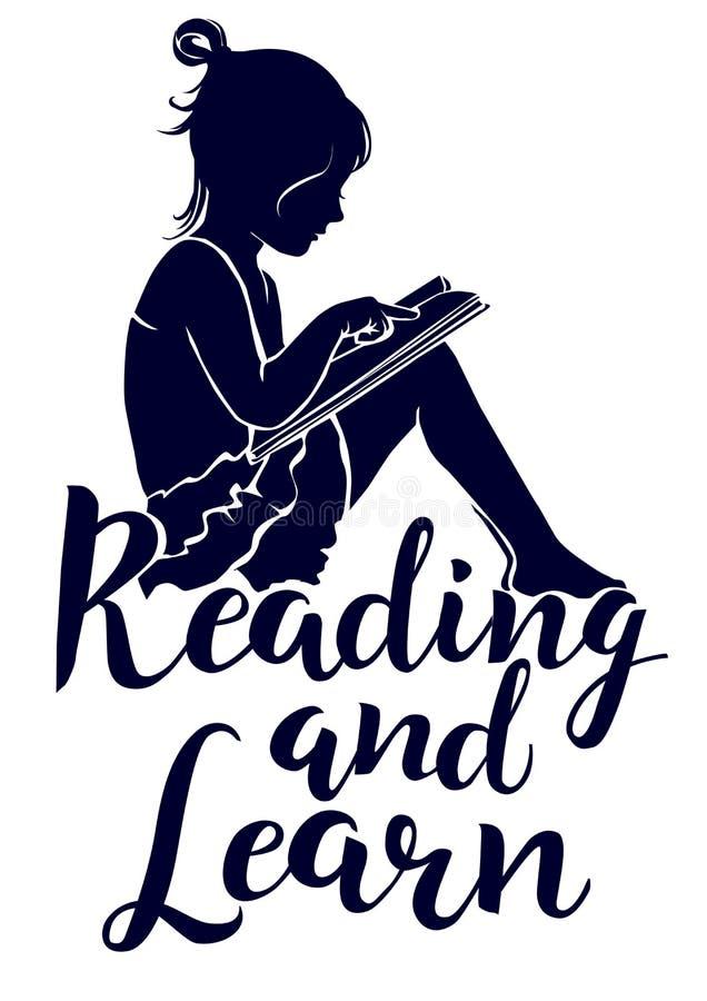 Apprenez et lisez le lettrage avec la lecture de petite fille de silhouette illustration libre de droits