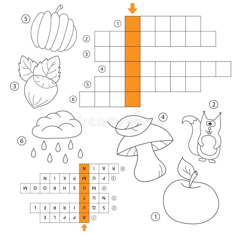 Apprenez l'anglais avec un jeu de mots d'automne pour des enfants Illustration de vecteur crossword illustration stock