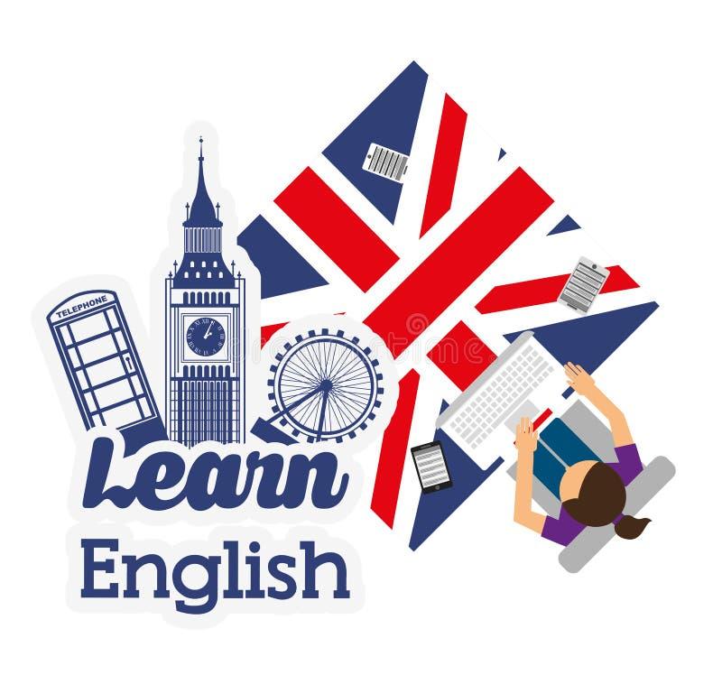 Apprenez la conception de l'anglais illustration de vecteur