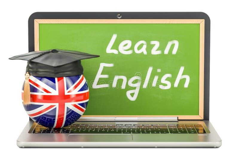 Apprenez le concept anglais avec le tableau noir d'ordinateur portable et le chapeau d'obtention du diplôme, illustration stock