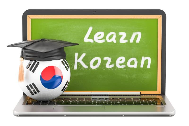 Apprenez le concept coréen avec le tableau noir d'ordinateur portable, chapeau d'obtention du diplôme et illustration libre de droits