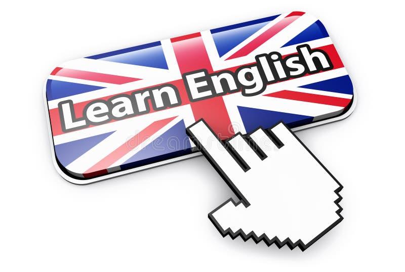 Apprenez le concept en ligne anglais de bouton illustration libre de droits