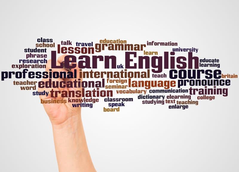 Apprenez le nuage et la main anglais de mot avec le concept de marqueur photo libre de droits