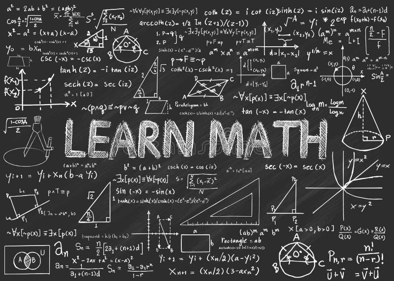 Apprenez le tableau de maths illustration libre de droits